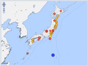 20130306から20160305の震度5弱以上の震央分布