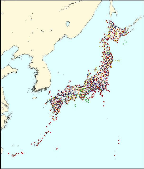 地震計配置地図